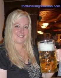Marsha enjoying ein maß at Okoberfest