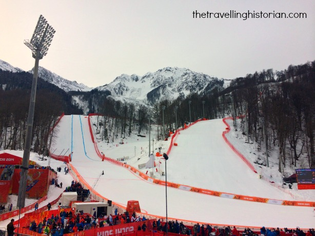 Men's Downhill (and later the men's Super G) on the left, Alpine Skiing Sochi 2014