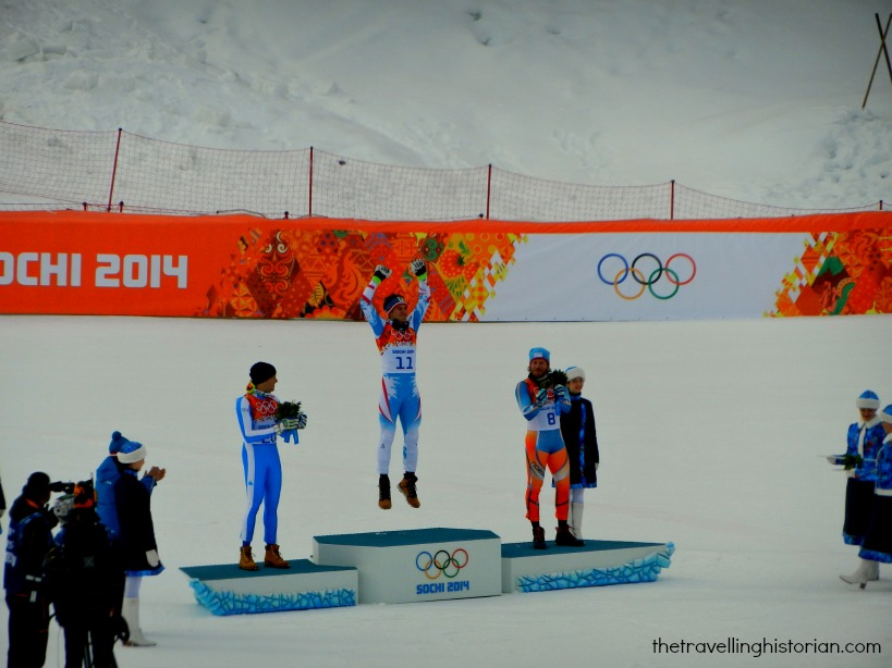 Men's downhill flower ceremony, Sochi 2014
