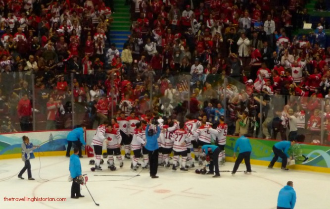 Canadian men celebrate Olympic hockey Gold, Vancouver 2010